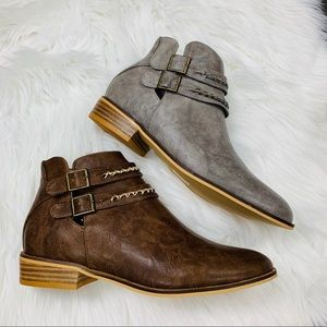 Grey leather buckle bootie